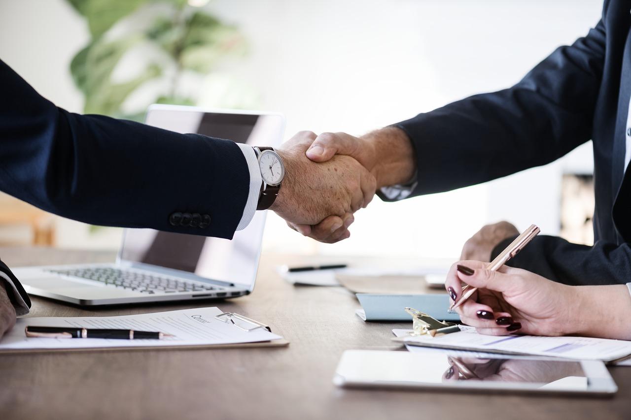 A handshake between two people
